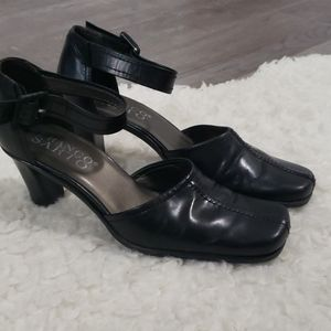 Franco Sarto Square Toe Leather Ankle Strap Heel